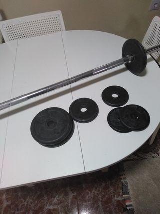 Barra de musculación con discos