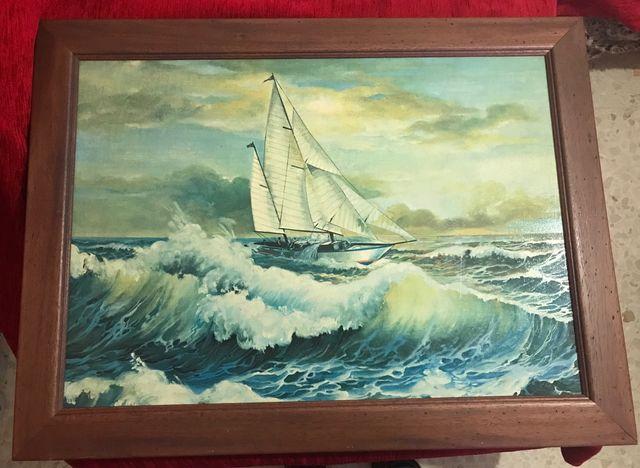 Cuadro barco vela antiguo