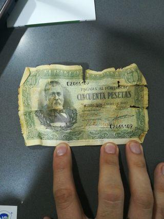 billete 50 pesetas 1940