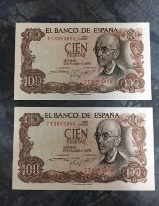 Dos billetes 100 pts correlativos Sin Circular