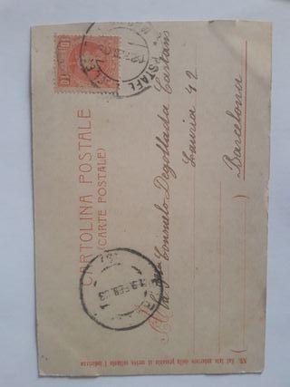 postal con sello postal 1909