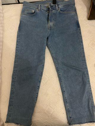 Pantalón denim cortado Zara