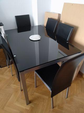 Mesa de Comedor Cristal y Aluminio + 6 sillas