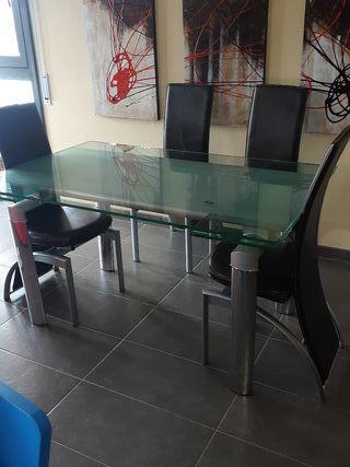 mesa de cristal extensible mesa y sillas de piel