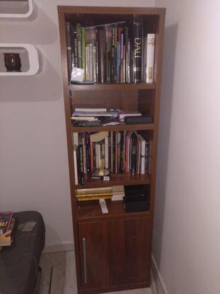Mueble librería madera nogal