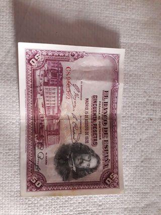 billete 50 pesetas,año 1928.