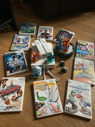 Consola Wii+25 juegos+base skylander