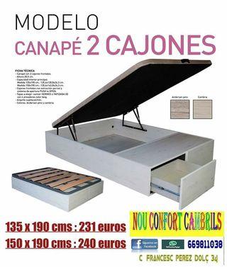 Canape con 2 cajones matrimonio desde 231 euros