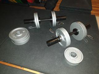 conjunto mancuernas olimpicas con rodamientos