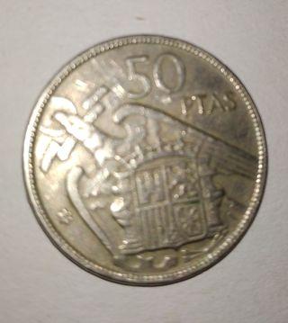 Moneda de 50 pesetas de 1957.