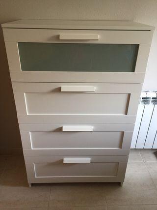 Cómoda de 4 cajones, blanco vidrio esmerilado Ikea