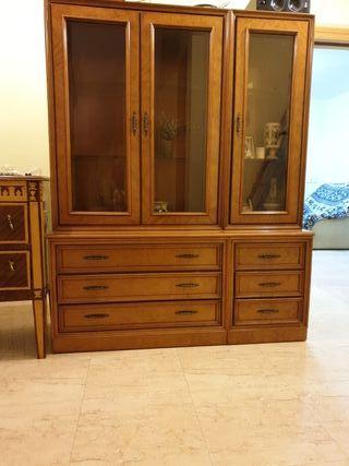 mueble vintage vitrina grande doble con cajones