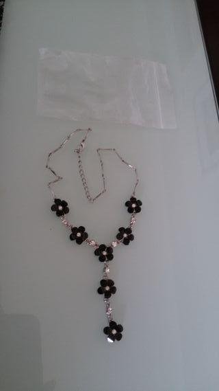 Colgante Collar Cadena negra plateado