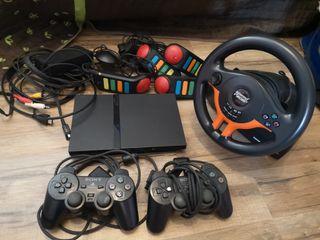 PS2 + 2 mandos + Buzz + volante