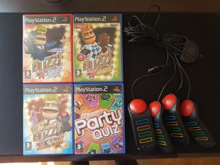 Pack juegos y mandos Buzz Ps2. Play 2