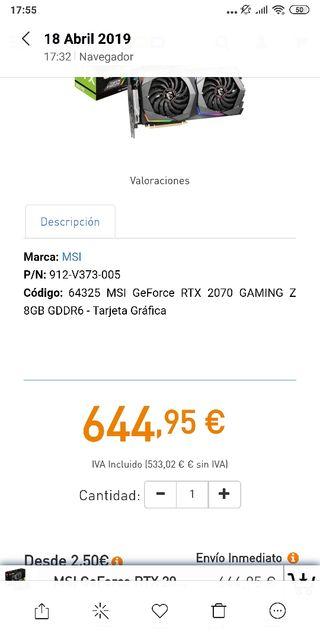 MSI rtx 2070 gaming z Nueva.