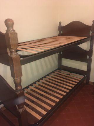 Litera de madera/dos camas