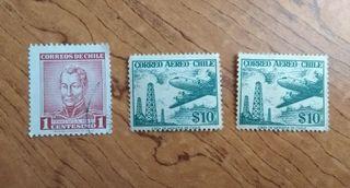 Lote de 3 sellos de Chile
