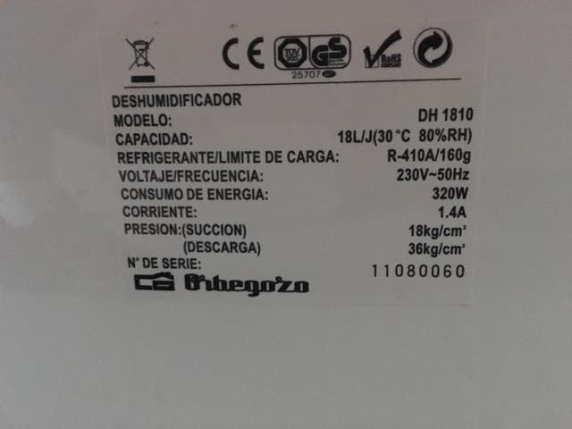 Deshumidificador Orbegozo 18L