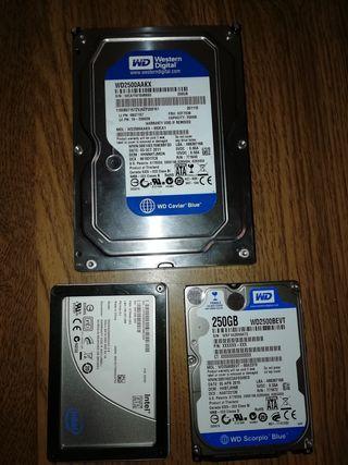 3 disco duro 2 de 250G y 1 de 75G