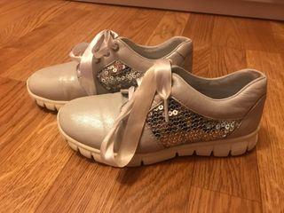Zapatillas deportivas Bebelis, plata, talla 32