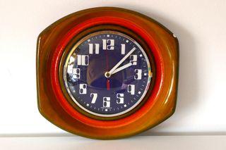 Reloj de pared vintage cerámica fat lava años 60