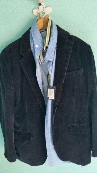 Chaqueta hombre azul pana. Talla XL. 5 camisas