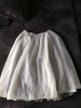 Falda tul gris claro