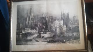 Antiguo grabado, Entrada a Burgos, 1838