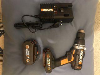 Taladro percutor worx 20v dos baterías