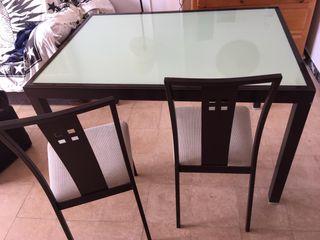 Conjunto mesa + 4 sillas de aluminio