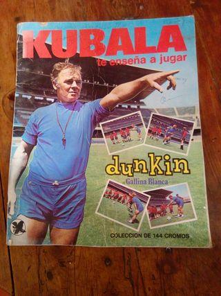 antiguo album de fútbol kubala dunkin