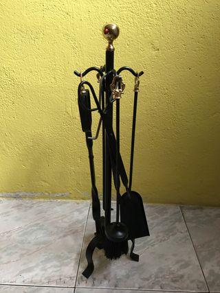 Conjunto utensilios chimenea hierro forjado