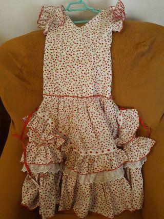 vestido flamenca , tiro volantes bajo niña 5 años