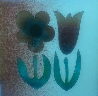 Cuadro flor y tulipán de cristal