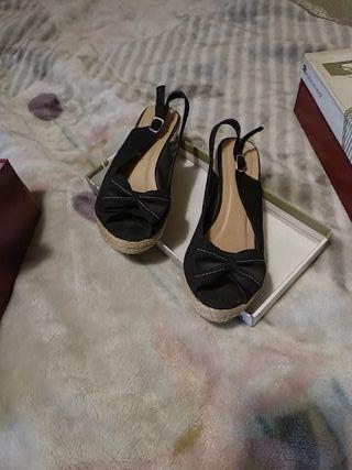 zapato cuña esparto negro talla 37