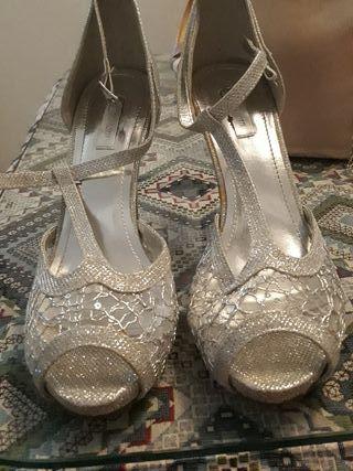 zapato plateado talla 41 mujer