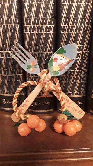 decoracion de madera cuchara tenedor