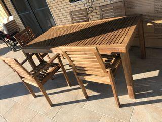 Conjunto mesa y 6 sillones de jardín