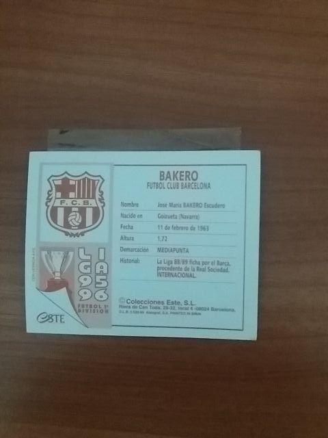 Cromo de fútbol de la Liga 95_96 Bakero
