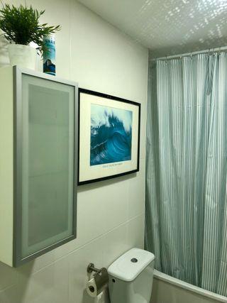 Cortina de ducha Textura + Barra blanca