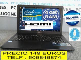 PORTATIL ASUS CORE i3 HDMI 4 GB RAM USB 3.0 ETC