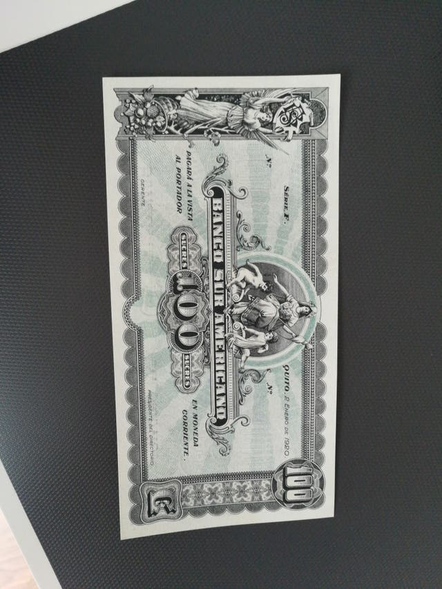 billete Ecuador banco sur americano 100 sucres