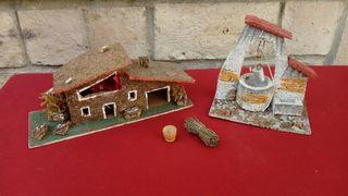 Casa ,pozo y accesorios de Nacimiento en corcho