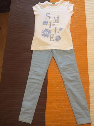 Pantalón y camiseta talla L (8-9 años) de Benetton