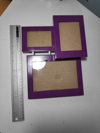 marco de 3 fotos lila