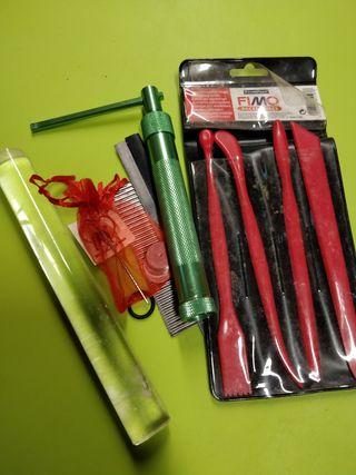 Kit Fimo extrusora, rodillo acrílico, cortadores