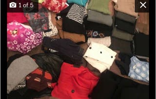 5 bags of clothes, shoes and curtains