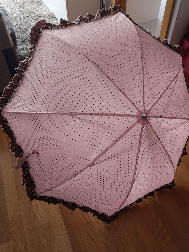 envío complementario gama muy codiciada de elegante en estilo Paraguas rosa pastel con lunares finos y volantito de ...