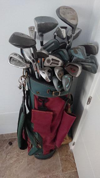 Bolso + Palos de Golf varios.